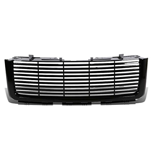 For GMC Sierra GMT900 Glossy Black ABS Billet Style Front Upper Bumper ()