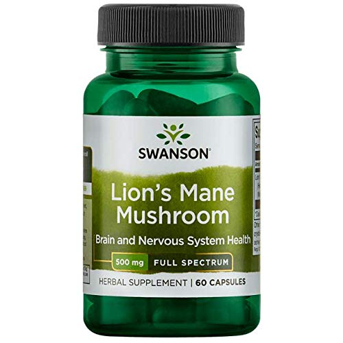 Swanson Lion's Mane Mushroom Memory Support Mental Focus Brain Booster Herbal Supplement Hericium Erinaceus (Mycelium Biomass) 500 mg 60 Capsules