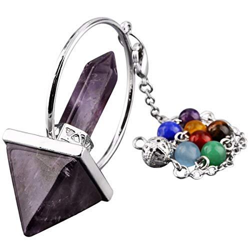TUMBEELLUWA Healing Crystal Quartz 7 Chakra Pendulum Dowsing Gemstone Divination Reiki Stone,Amethyst
