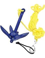 Usuny - Kit de Anclaje Plegable de Aluminio con Cuerda para Canoa, Kayak, Barco pequeño, Color Azul