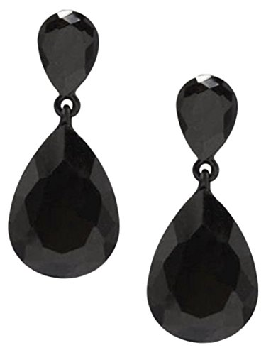 Barn Costumes Dance Party (Jet Black Angelina Teardrop Earrings Fashion Jewelry Nicely Boxed)