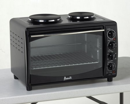 (Avanti MKB42B Full Range Temperature Control, Multi-Function Counter Top Convection Oven with Duel Burner Cook-Top, Rotisserie, in Black )