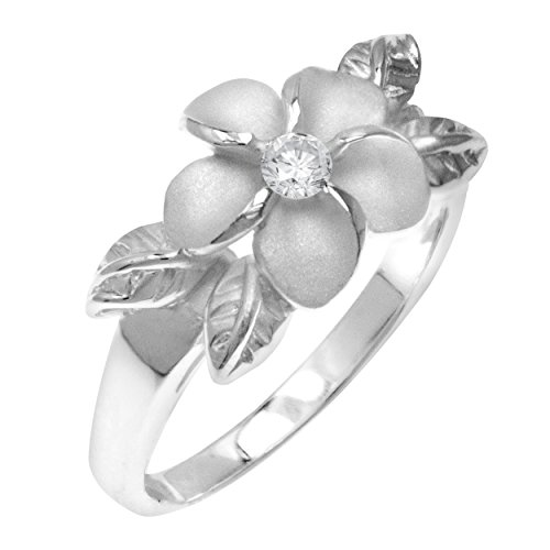 Sterling Silver Plumeria Ring Hawaiian Jewelry