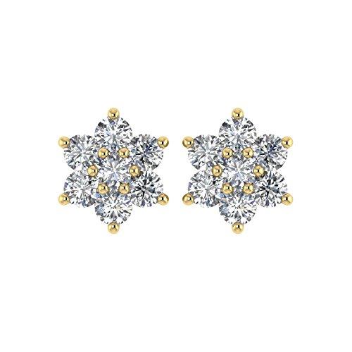 Diamant Delight Veste de 10K boucles d'oreille Clous en forme de fleur (si1-si2, 1/2carat)