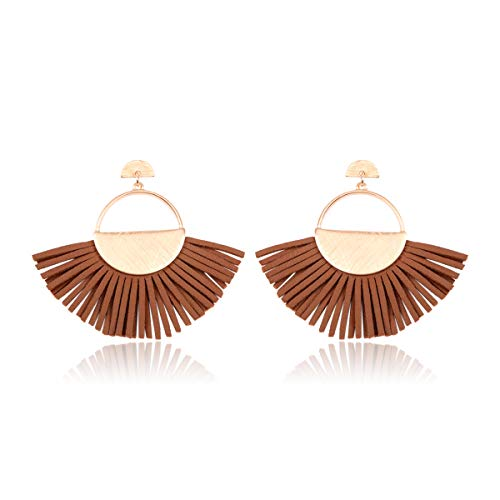 RIAH FASHION Bohemian Faux Leather Drop Statement Earrings - Boho Statement Dangles Fan Fringe Tassel/Filigree Feather/Half Moon (Fan Fringe Tassel - Camel)