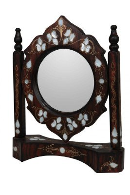 Wooden Mirror with Machined Pearl Inlay and Brass Threaded by The Ottoman Arts