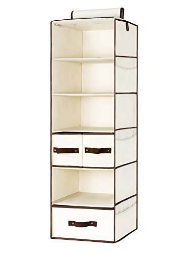 StorageWorks Hanging Closet Organizer with 1 Drawer & 1 Box Set, Foldable Polyester Canvas Hanging Accessory Shelves, Natural, 6-Shelf, 13.6x12.2x42.5 in