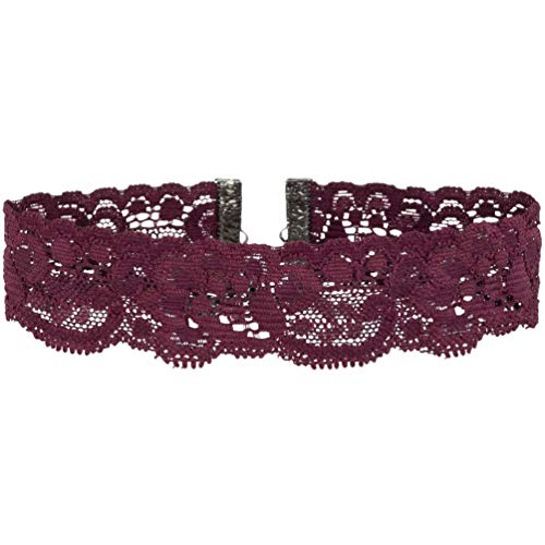 Twilight's Fancy Floral Elastic Stretch Lace Choker Necklace (Burgundy Maroon, Small)]()