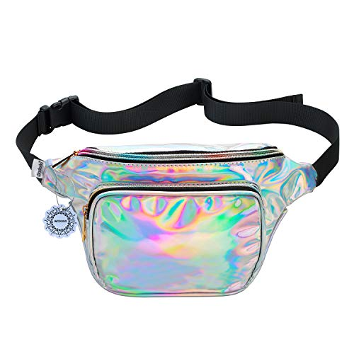 Shiny Neon Fanny Bag for Women Rave Festival Hologram Bum Travel Waist Pack (Silver)]()
