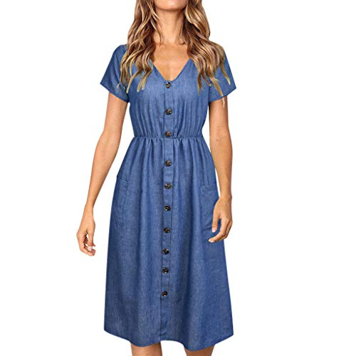 iLUGU Women Holiday Strappy Button Pocket Denim Dress Summer Beach Midi Swing ()
