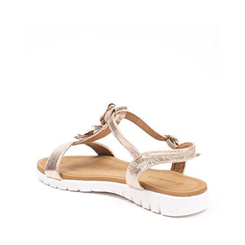 Ideal Shoes, Damen Sandalen Champagne