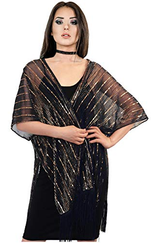 (L'VOW Women's Glitter Sequin Metallic Evening Wrap Fringed Kimono Cover up Shawl Cardigan (Black))