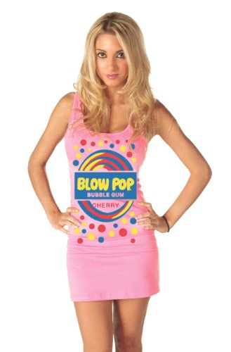 Blow Pop Bubble Gum Candy Cherry Pink Tunic Tank Dress (Juniors Large)