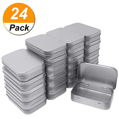 24 Pack Metal Rectangular Empty Hinged Tins Box Containers Mini Portable Box Small Storage Kit, Home Organizer, 3.75 by 2.45 by 0.8 Inch Silver ()
