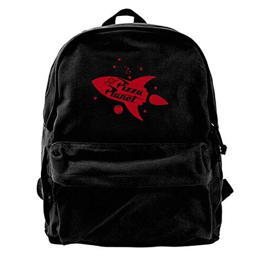 Pizza Planet Rocket Canvas Backpack for Men Women Lightweight Travel Backpack Cute Shoulder Bags Laptop Backpack
