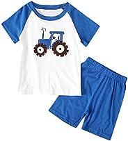 for,Cute Children Kids Boys Short Sleeve Cartoon Print T-Shirt Tops+Shorts Pajamas Set