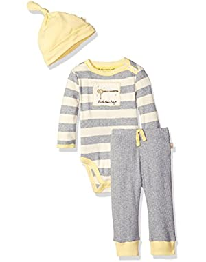 Organic Long Sleeve Snap Shoulder Bodysuit with Pant and Hat