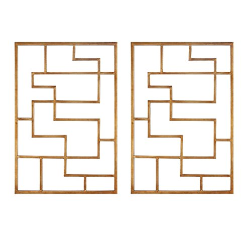 Open Gold Fretwork Wall Plaques Set Pair | Geometric Modern (Fretwork Wall Plaque)