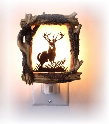 - 4.5 Inch Wooden Design with Antlered Deer Silhouette Night Light