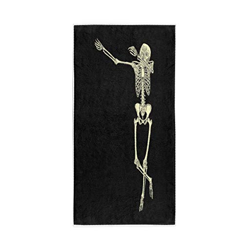 Semtomn 14 x 30 Inches Bath Towel Halloween Human Skeleton Posing Dab Perform Dabbing Dance Move Gesture Soft Absorbent Travel Guest Decor Hand Towels Washcloth for Bathroom(One Side -