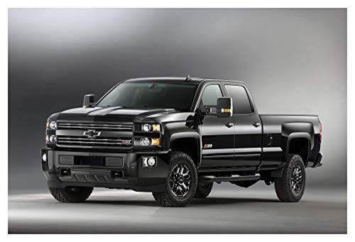 Classic and Muscle Car Ads and Car Art Chevrolet Silverado 2500 HD Z71 Midnight Crew Cab (2016) Truck Print on 10 Mil Archival Satin Paper Black Front Side Static View 11