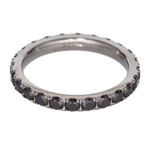 FlameReflection 2.4mm Women's Titanium Ring Wedding Band Black Plated Black Cubic Zirconia Round size 6 SPJ (Titanium Bands Black Wedding Diamond)