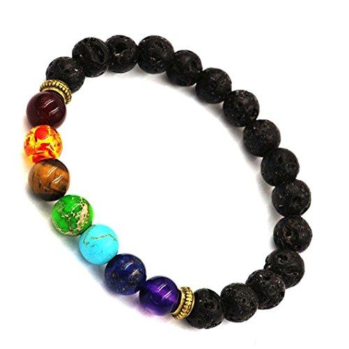 Laimng Women Men Bracelet Elastic Beaded Bracelet Tibet Charm Bracelets (Black)