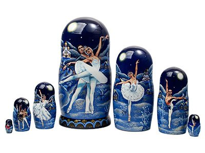 Golden Cockerel Authentic Russian Ballet Swan Lake Nesting Doll 7pc./8'' Collectible by Golden Cockerel (Image #3)