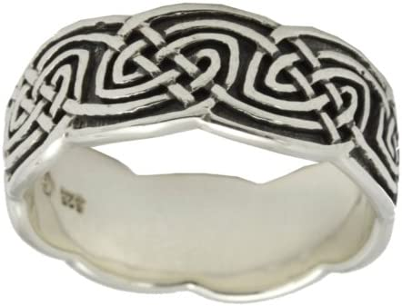 US Jewels And Gems Mens Sterling Silver Irish Celtic Ring Band Size 12