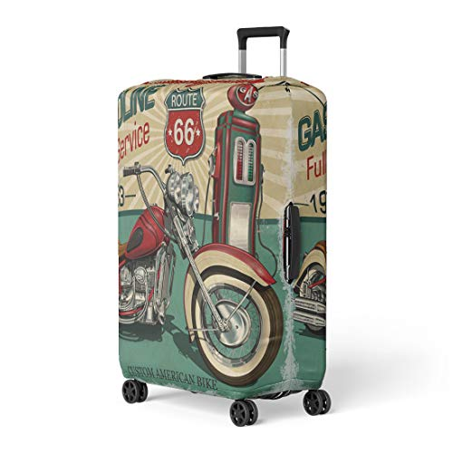 - Pinbeam Luggage Cover Retro Vintage Gasoline Route 66 Classic Motorcycles Biker Travel Suitcase Cover Protector Baggage Case Fits 22-24 inches