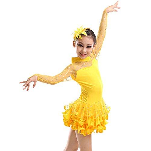Latin Dance Costumes Hong Kong (Little Girls' Tutu Dress Latin Dress Party Dresses Long Sleeve 110cm Yellow)