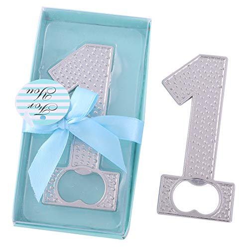12 pcs 1 shape Bottle Openers Party Favors for Guests,Baby Shower Return Gift Wedding Souvenir Gifts Party Supplies Decorations with Blue Gift Box by WeddParty (Silver 1 Blue - Shower Baby Return Gifts