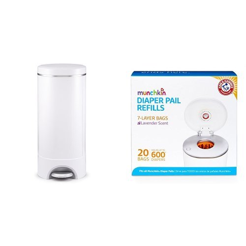 Munchkin Step Diaper Pail Powered by Arm & Hammer with Munchkin Arm & Hammer Diaper Pail Snap, Seal and Toss Refill Bags MUNO9