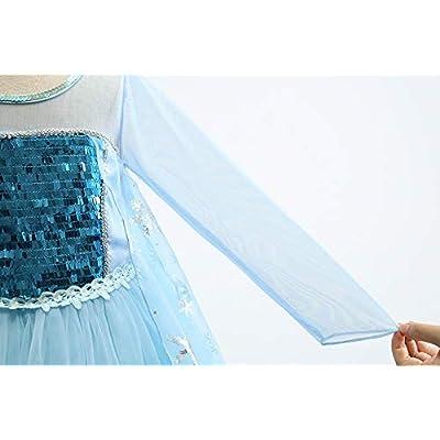 BIBIHOU Girls Elsa Dress with Cloak Princess Dress up Long Sleeve Halloween Christmas Party Sequin Cosplay Fancy Costume: Clothing