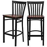 Modern Style Dining Bar Stools Pub Lounge Diner Restaurant Commercial Seats Vertical School House Back Design Black Powder Coated Frame Finish Home Office Furniture - Set of 5 Cherry Wood Seat #2232