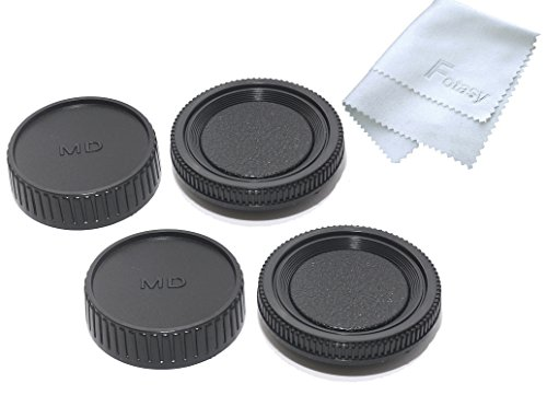 Lens Rear Cap and Body Cap for Minolta MD MC Lens and Cameras, w/Fotasy Premier Cleaning Cloth