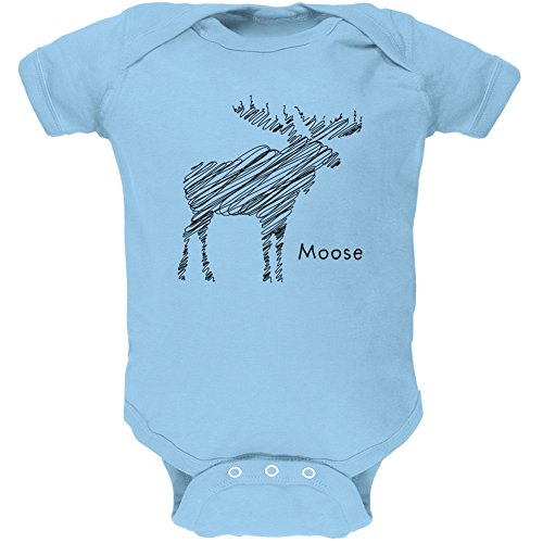 Moose Scribble Drawing Light Blue Soft Baby One Piece - 6 Month