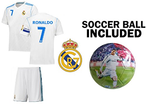 Fan Kitbag Christiano Ronaldo #7 Youth Soccer Jersey & Shorts Kids Premium Gift + Ronaldo 7 Soccer Ball size 5 (Youth Large 10-13 years, Home Short Sleeve)