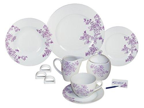 Arte Viva Arcadia 1143140 45-Piece Coffee and Dinner Service Porcelain Purple Designed by Francesca Mancini