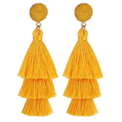 LEGITTA Yellow Tassel Earrings with Druzy Stud Thread Layered Tiered Linear Drop Dangle Fashion Bohemian Earrings for Women ()
