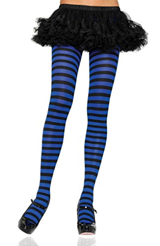 Adult Nylon Striped Tights - Black/Royal (Pink And Blue Striped Tights)