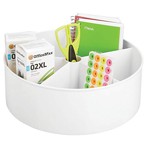 - mDesign Deep Plastic Lazy Susan Turntable Storage Container - Divided Spinning Organizer for Home Office Supplies, Pens, Erasers, Tape, Colored Pencils - White