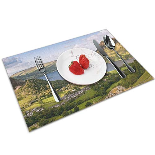 Halloween Lake District (Joseph Placemats Washable Dining Table Place Mats Heat Insulation Stain Resistant(Set of 4) Hiking Countryside Lake)