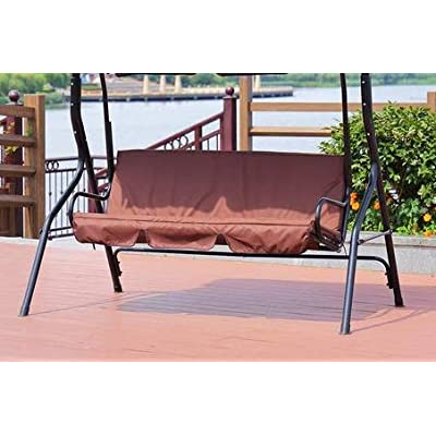 Dappre Patio Swing Seat Cover Dustproof Canopy Replacement Rocking Bench Cover for Outdoor Garden 3 Seat Swing Chair Shelter : Garden & Outdoor