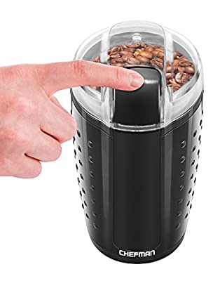 Chefman Electric One-Touch Coffee Grinder for Fresh Coffee Grounds, Dried Nuts, Herbs, and Spices, Durable Stainless Steel Blades, 100 gr./3.5 oz. Bean Capacity for Up to 12 Cups of Coffee.