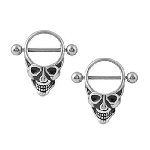 Dolity 2pcs Halloween Party Costume Skull Barbell Nipple Ring 14 Gauge Body (Halloween Body Jewelry)