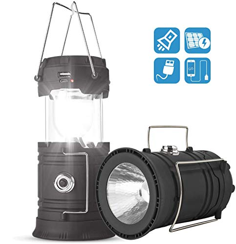 Solar/USB Rechargeable Camping Lantern Led, Collapsible Lantern Flashlight for Emergency, Hurricane, Power Outage, Hiking, Reading(Black, 1 Lantern)