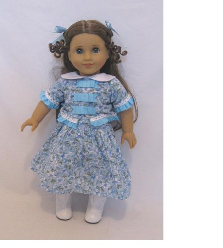 Blue Flower Dress Skirt and Top and Hair Ribbon Fits American Girl 18 Inch Dolls Like Marie Grace and Cecile
