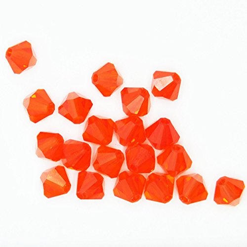 Hyacinth Orange 4mm Swarovski Crystal Beads. Bicone. Made in Austria. Pack of 20
