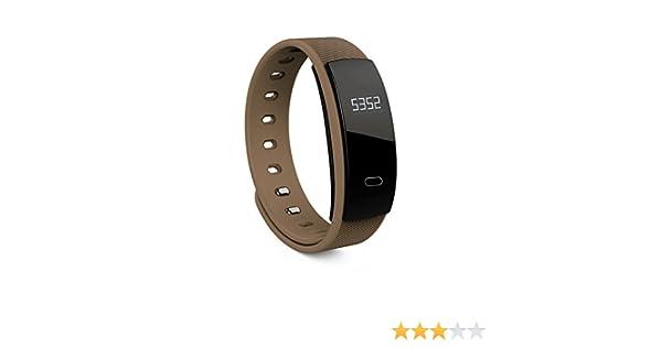 rungao Bluetooth Smart reloj ritmo cardíaco Pulsera de fitness Tracker Monitor de presión arterial, marrón: Amazon.es: Deportes y aire libre